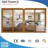 Top Brand Wood Grain Aluminium Sliding Glass Door with Grills