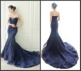 Sequins Evening Formal Gowns Lace Navy Mermaid Prom Dresses Z601