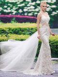 Spaghetti Straps Lace Open Back Mermaid Wedding Dress (Dream-100088)