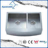 Double Bowl Handmade Stainless Steel Cupc Kitchen Sink (ACS3321A2Q)
