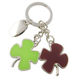 Promotional Lucky Epoxy Fancy Four Leaf Clover Color Keyring (F1031)