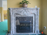 Bardiglio Arabescato Marble Carved Electric Fireplace for Interior Decorative