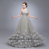 Women One Shoulder Flowers Pleats Tulle Evening Party Prom Dress