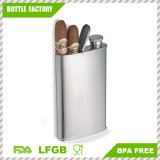 18-8 Stainless Steel Flask with Built-in Cigar Case, 4 Oz Multifunctional Flask