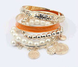 Enamel Bracelet Set with Coin Hanging Bracelet (XBL12621)