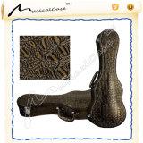 Wooden Ukulele Case with Alligator Print Leather