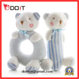Blue Ring Shape Body Plush Bear Baby Rattle Toy for Gift Set