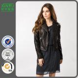 2016 Ladies Winter Custom Black Leather Jacket Price