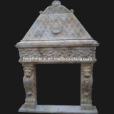 Stone Carving Fireplace With Lion Sculpture (FRP518)