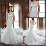 Mermaid Lace Bridal Gowns Sheer V-Neck Beads Wedding Dresses Y21512