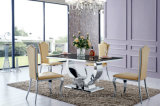 "Modern Dining Room 71"" Rectangle Stainless Steel Base Glass Table"