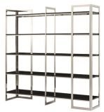 2016 Light Finish Ss Base Bookcase with Toughened Glass Table Board
