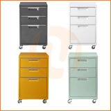 Colorful Office Furniture 3 Drawers Rolling Metal Storage Cabinet for Living Room, Office and Bedroom