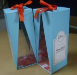 Rigid Paper Gift Box with Ribbon and Clear Window