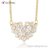 Luxury CZ Diamond Heart-Shaped Fashion Imitation Jewelry Necklace -41416
