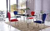 Modern Glass Dining Room Table Sets with 4 People Fabric Chairs