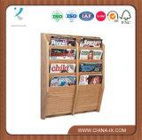 4-Tiered 8 Pockets Wood Magazine Shelf for Wall