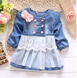 2015 New Arrival Spring Korean Princess Dress /Girls Fashion Dress with Necklace/ Children Wholesale Cotton Clothing Kd1121