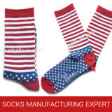 Men′s Stripe Sock with Star Pattern of Foot