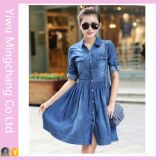 Women′s Plus Size Slim Fit Pleated Denim Dress (50258)