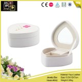 Elegant White Heart-Shaped Mirrored Custom Jewelry Box