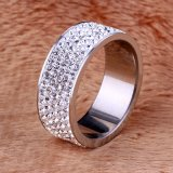 5 Row Lines Stainless Steel Engagement Rings