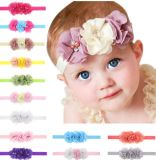Custom Baby Girls Elastic Headband Chiffon Flower Photography Headbands, Boutique Floral Headband