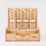 Wooden DIY Desktop Office Stationery Organizer with 4 Columns Tray