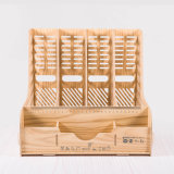 Wooden Desktop Stationery Organizer with 4 Columns File Tray D9121