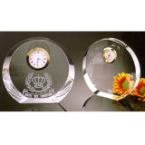 Clear Round Crystal Glass Trophy Award Clock