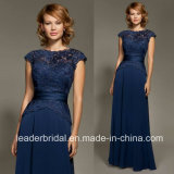 Cap Sleeve Navy Chiffon Lace Mother′s Formal Evening Dress W201502