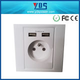 5V 2.1A EU USB Wall Socket for France and German