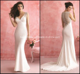 V-Neck Bridal Gowns Mermaid White Applique New Wedding Dresses Y2035