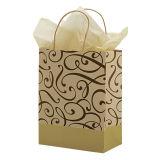 Cheap Medium Chocolate & Kraft Swirl Paper Shopper Packing Bags