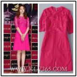 High Fashion Office Lady Clothing Pure Color Summer Sexy Lace Dress for Women
