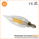 CE RoHS Ra90 400lm C32 4W LED Filament Light