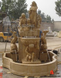 Beige Marble Garden Fountain with Carved Figures