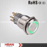 CE RoHS (19mm) Ring-Illumination Momentary Latching Industrial Pushbutton Switches