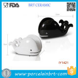 Wholesale Cute White and Black Whale Ceramic Phone Holder