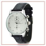 High Quality Quartz Steel Watch with Leather Watch 15146