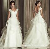 V-Neck A-Line Lace White Organza Bridal Wedding Gown W1471955
