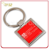 Customized Full Color Printing Square Shaped Nickel Plated Metal Keyring