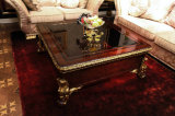 Italian Solid Wood Luxury Antique High Gloss Painting and Parts Covered Gold Foil Coffee Table