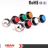 Hban New Type Ce RoHS (12mm) Hyperplane Flat Round Pin Terminal Metal Push Button Switch