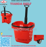 Factory Wholesale Supermarket Plastic Rolling Shopping Baskets with Wheels