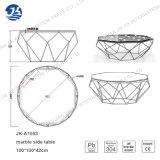 New Design Polygon Marble Glass Metal Frame Coffee Table