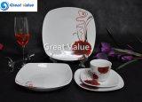 20PCS Red Rose Porcelain Children Dinnerware