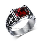 Black Men′s Steel Punk Ring Cross Design Red Main Stone