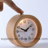 Small Round Silent Table Snooze Beech Wood Alarm Clock with Nightlight