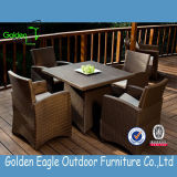 PE Rattan Garden Furniture Aluminium Dining Table and Chair